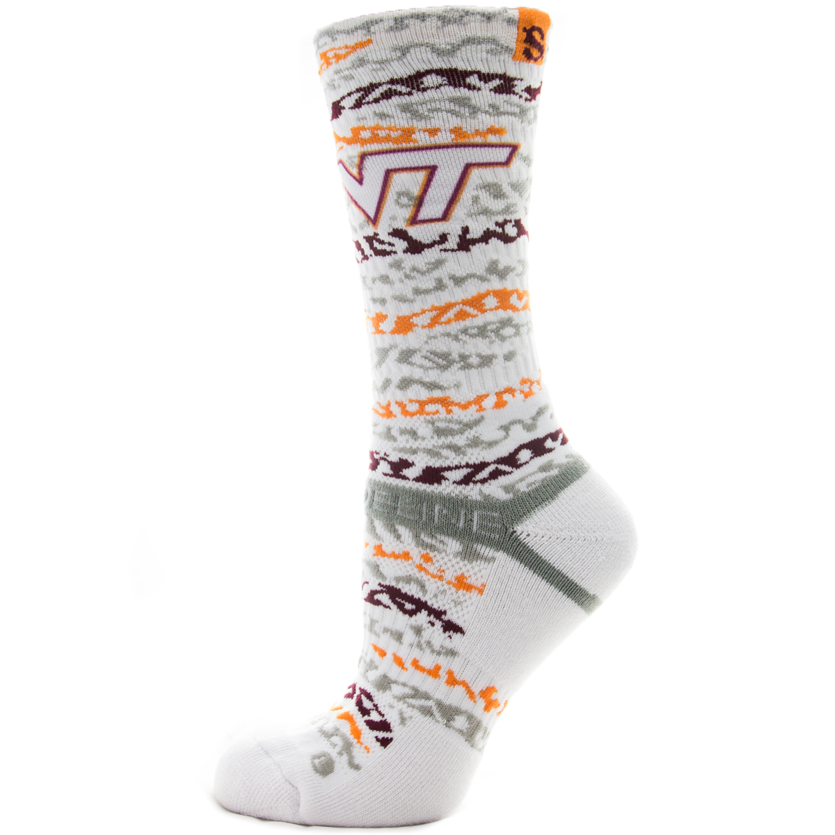 Strideline Athletic Socks Virginia Tech White Bengal 5700311 Strapped Fit Men's Sports Team College