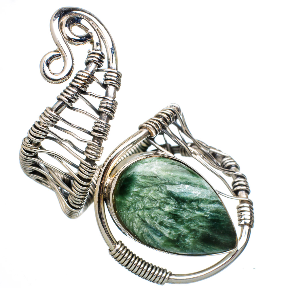 Ana Silver Co Huge Seraphinite 925 Sterling Silver Ring Size 8 Adjustable RING800038