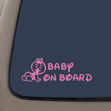 Baby On Board (Girl) Car Window Wall Laptop Decal Sticker | Pink | 6.75-Inches By 2.4-Inches | Car Truck Van SUV Laptop Macbook Wall Decals