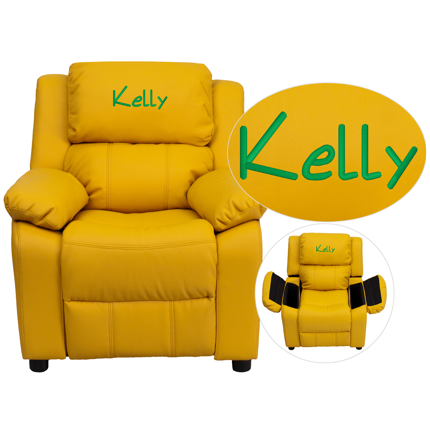 Flash Furniture Personalized Deluxe Padded Yellow Vinyl Kids Recliner with Storage Arms
