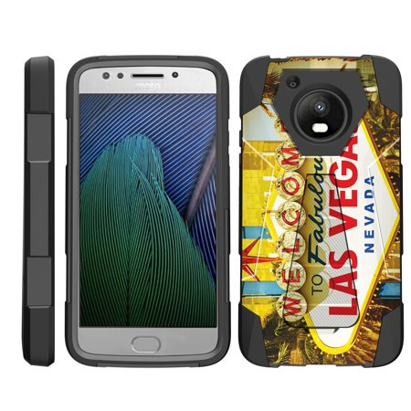 TurtleArmor ® | For Motorola Moto E4 XT1768 | Motorola Moto E 4th Generation (2017) [Dynamic Shell] Dual Layer Hybrid Silicone Hard Shell Kickstand Case - Viva Las Vegas - Vegas Halloween 2017