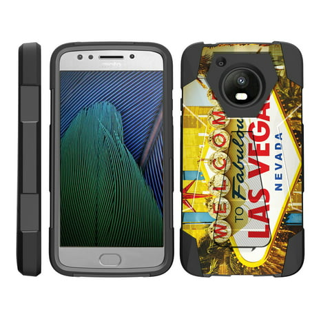 TurtleArmor ® | For Motorola Moto E4 XT1768 | Motorola Moto E 4th Generation (2017) [Dynamic Shell] Dual Layer Hybrid Silicone Hard Shell Kickstand Case - Viva Las Vegas - Halloween Events Las Vegas 2017 For Kids