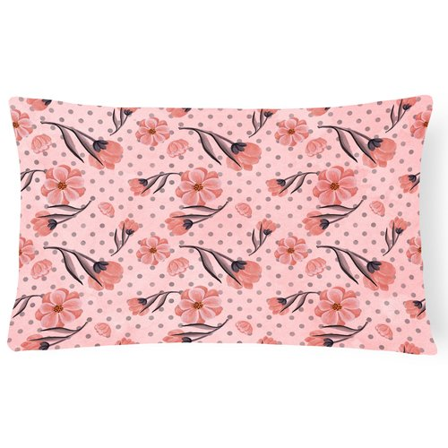 Zoomie Kids Seraphine Flowers and Polka Dots Indoor/Outdoor Throw Pillow