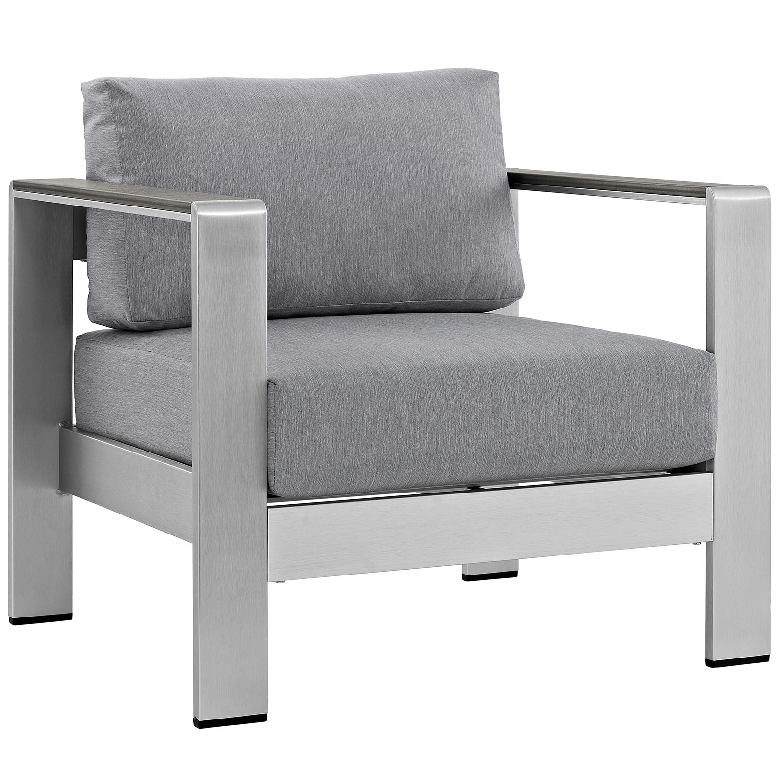 Modern Contemporary Urban Design Outdoor Patio Balcony Lounge Chair, Grey Gray, Metal Aluminum