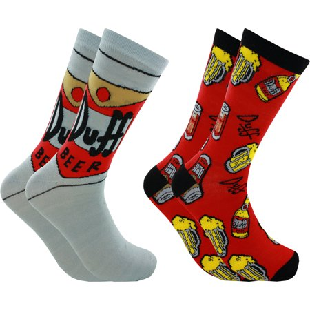 The Simpsons Duff Beer Men's Casual Crew Socks, 2-Pack, 6-12 ()