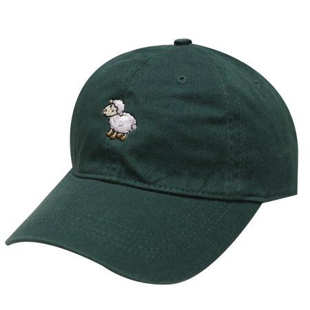 Little Green Sheep (City Hunter C104 Sheep Cotton Baseball Dad Hat 17 Colors (Hunter Green))