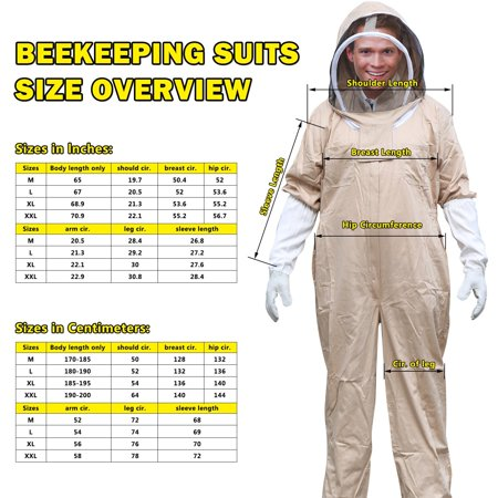Professional Cotton Full Body Beekeeping Suit with Self Supporting Veil for Beekeeping with Fixable Strap Protect from Stings XL](Professional Gorilla Suit)