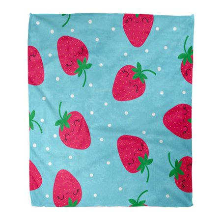 SIDONKU Throw Blanket Warm Cozy Print Flannel Pink Fruit Strawberry Cute Pattern Red Berry Food Fresh Graphic Healthy Juicy Comfortable Soft for Bed Sofa and Couch 50x60 - Pattern Comfortable Healthy