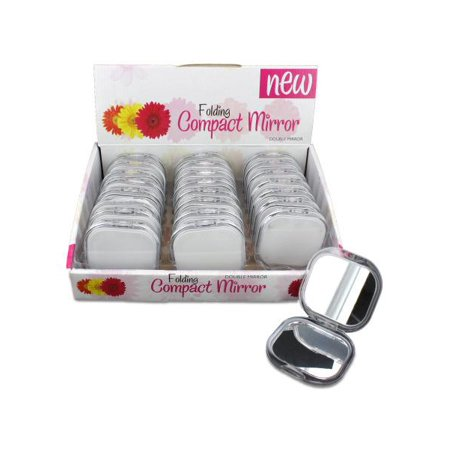 Folding Double Mirror Compact Countertop Display (Available in a pack of 24) - Bulk Compact Mirrors