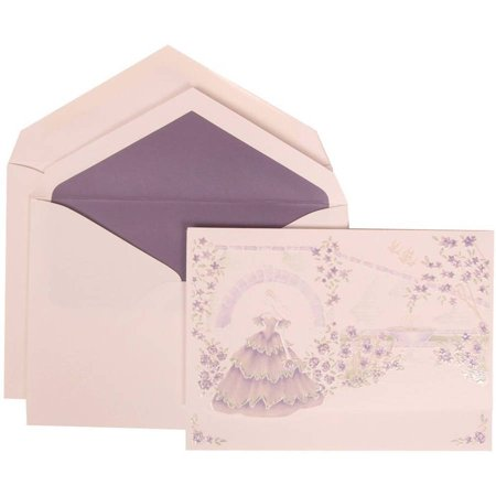 JAM Paper Purple Card with Purple Lined Envelope Large Wedding Invitation Colorful Princess Set, 50 Cards (5-1/2