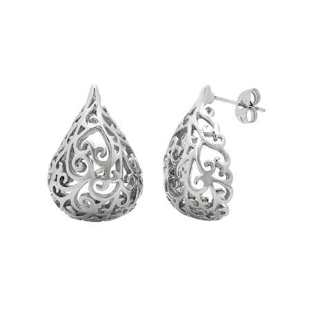 Women's Silver-tone Stainless Steel Tear Drop Cut-Out Fashion Earrings
