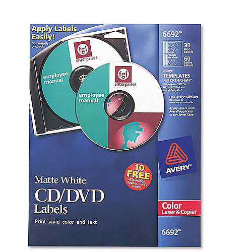Avery 6692 Matte White CD Labels for Color Laser Printers and Copiers, 90 Labels/Pack