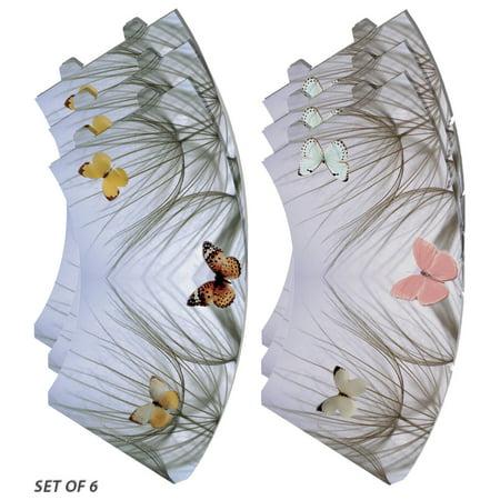Royal Designs Butterfly on Beach Grass Vellum Paper Wine Glass Tea Light Lampshade- Party Centerpiece - Set of 6 - TLS-1004AB-6 - Beach Centerpieces