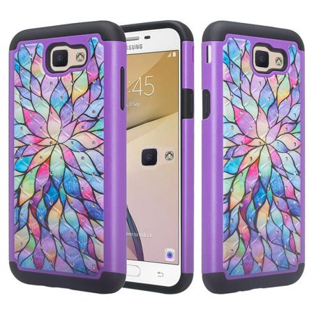 Samsung Galaxy J7 V / J7 (2017) / J7 Perx / J7 Sky Pro / J7 Prime / Galaxy Halo Case, Hybrid Shockproof Impact Rubber Dual Layer Hard Soft Protective Hard Case Cover Phone Case - Rainbow Flower (Rubber Hard Phone Case)