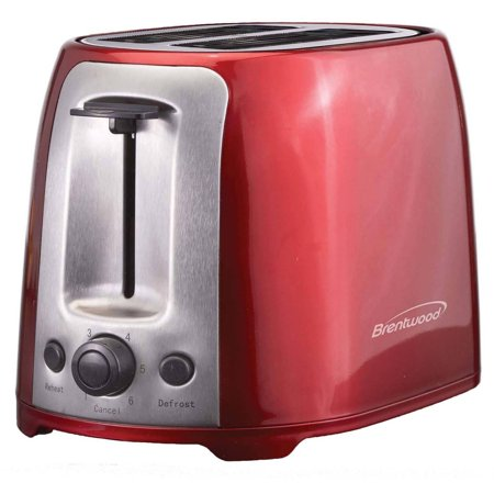 Brentwood TS-292R 2 Slice Toaster Cool Touch Wide Slot, Stainless Steel, Red