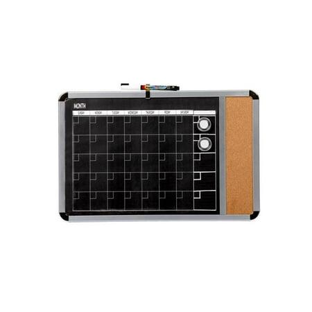 Dooley 1530688 11 x 17 in. Magnetic Dry Erase Calendar with Cork Strip, - Black Dry Erase Calendar