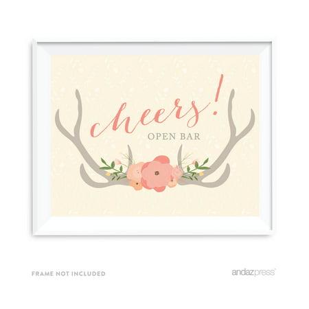 Open Bar Cheers! Woodland Deer Wedding Party Signs (Open Bar At Wedding)