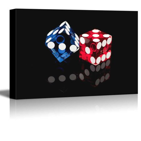 Canvas Prints Wall Art - Colorful Las Vegas Gaming Dice Casino Concept | Modern Wall Decor/Home Decoration Stretched Gallery Canvas Wrap Giclee Print & Ready to Hang - 24