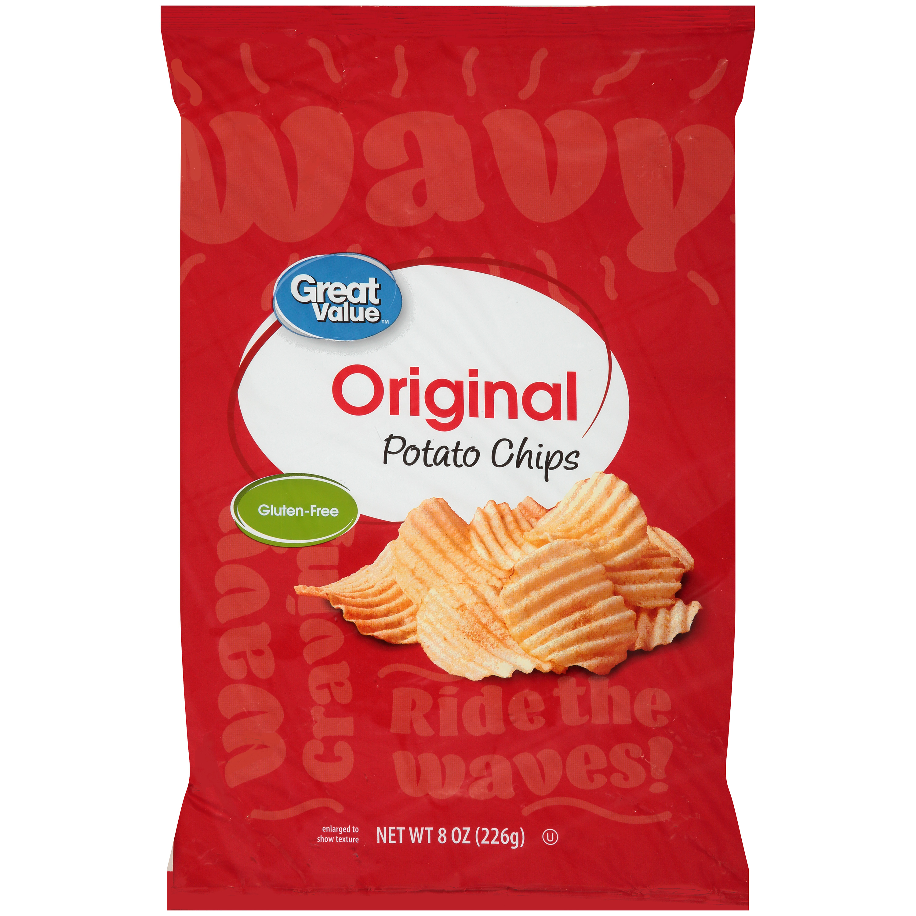 Great Value Wavy Potato Chips, 8 Oz