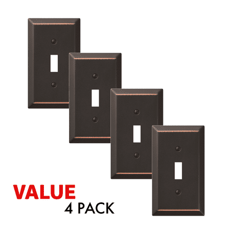 Value 4-Pack Toggle Light Switch Wall Plate Decorative, Oil Rubbed Bronze ()