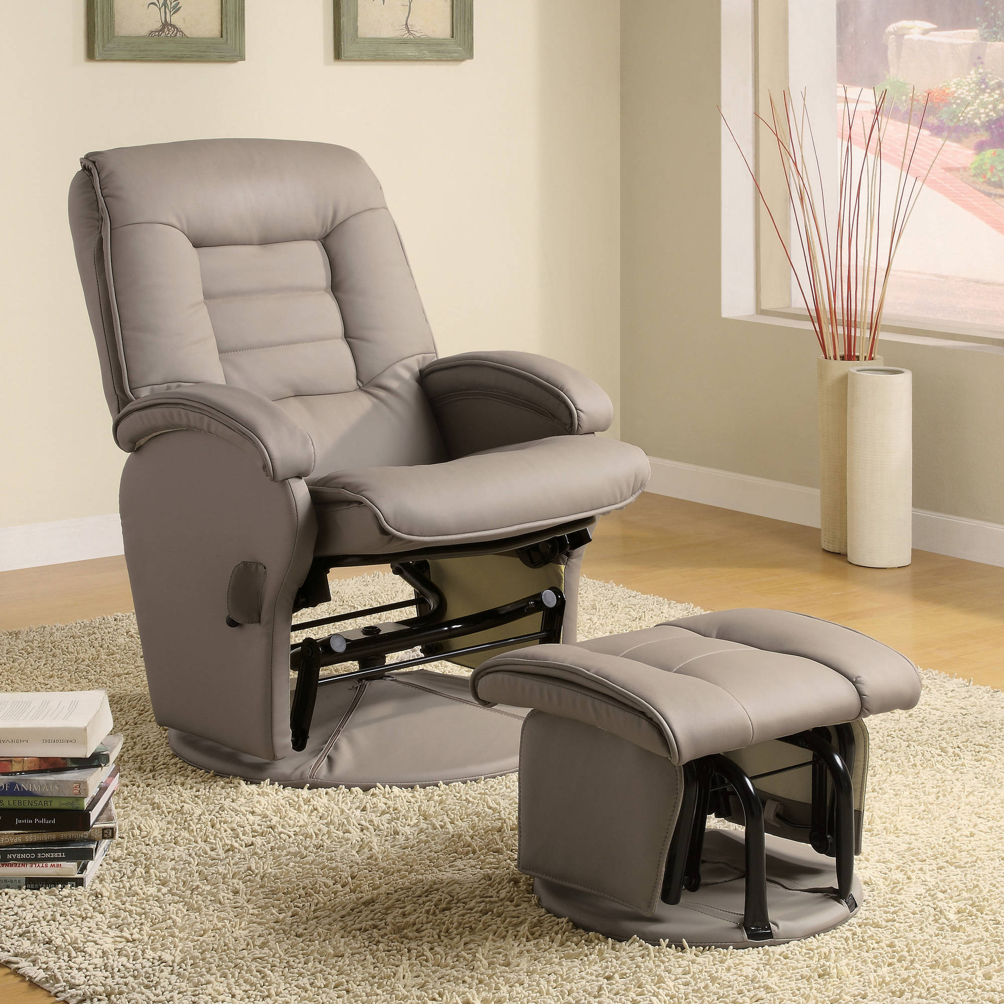 Coaster Double Padded Glider and Ottoman in Bone Walmart
