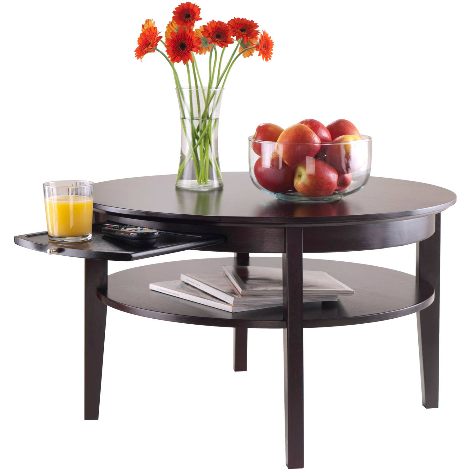 Winsome Wood Amelia Round Coffee Table With Pull Out Tray Espresso Finish