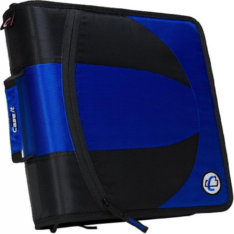 Case It 2-in-1 Zipper D-Ring Binder, Blue (DUAL-101-BLU)