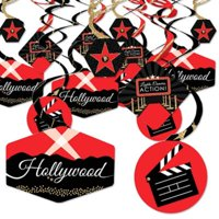 Red Carpet Hollywood - Movie Night Party Hanging Decor - Party Decoration Swirls - Set of 40
