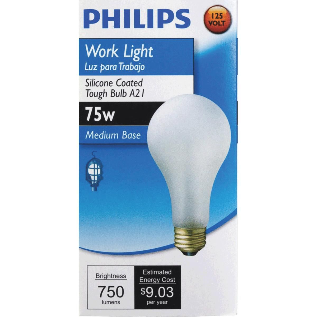 Philips Silicone Coated A21 Incandescent Rough Service Light Bulb