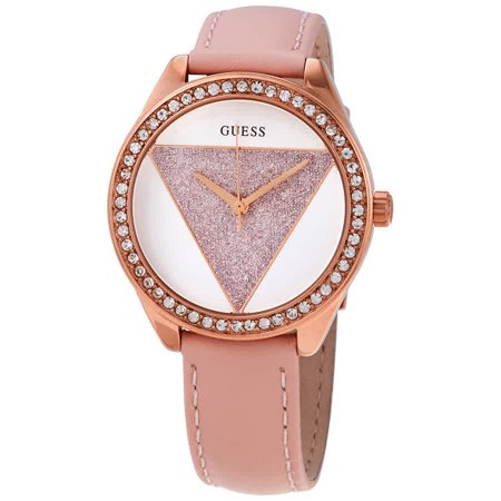 Guess Tri Glitz Quartz Crystal Silver Dial Ladies Watch W0884L6 Guess Logo Dial Watch