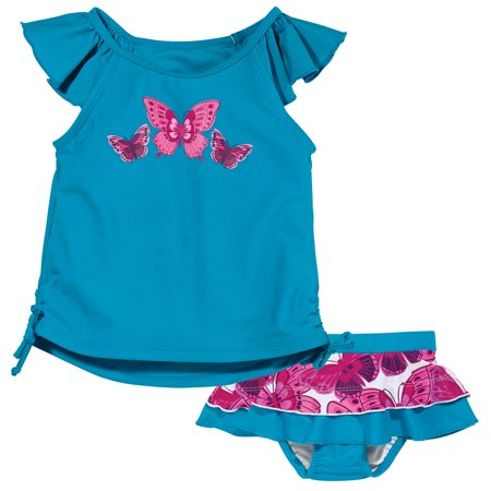Sun Smarties Baby Girl Swim Diaper Skirt and Tankini - Blue with Hot Pink Butterflies - 2 Piece Swimsuit
