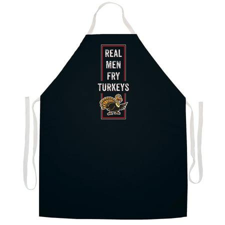 Attitude Aprons 'Real Men Fry Turkeys' BBQ Grill Apron-Black New Bbq Apron