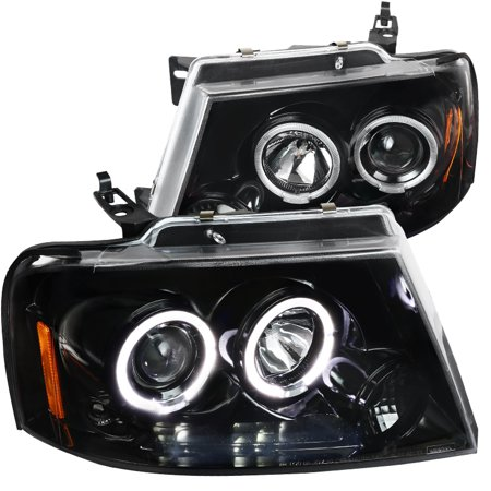 Spec-D Tuning Jet Black 2004-2008 Ford F150 Led Halo Projector Headlights Clear Lens Pair 2004 2005 2006 2007 2008