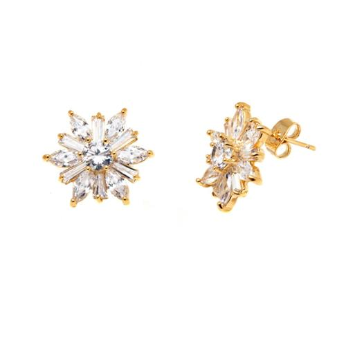 Peermont Jewelry Goldplated Gold and Clear Crystal Flower Earrings - White