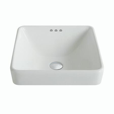 KRAUS Elavo™ Series Square Ceramic Semi-Recessed Bathroom Sink in White with Overflow