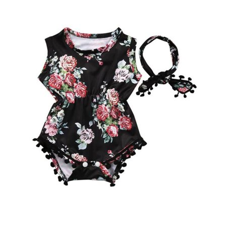 Baby Girls One-Piece Floral Romper Jumper Sunsuit & Headband Outfits Set Clothes for 0-24M (Girls Clothing Online Boutique)