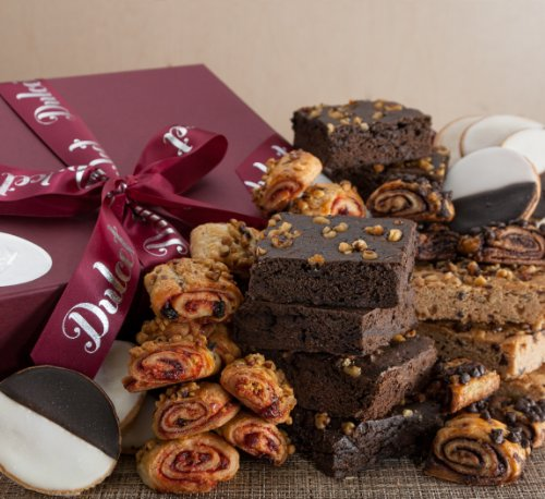 Dulcet Gourmet Food Gift Basket – Includes: Mini Black and Whites, Walnut Brownies, Blondies, Assorted Rugelach. Fresh and Tasty. Unique Gift Idea!