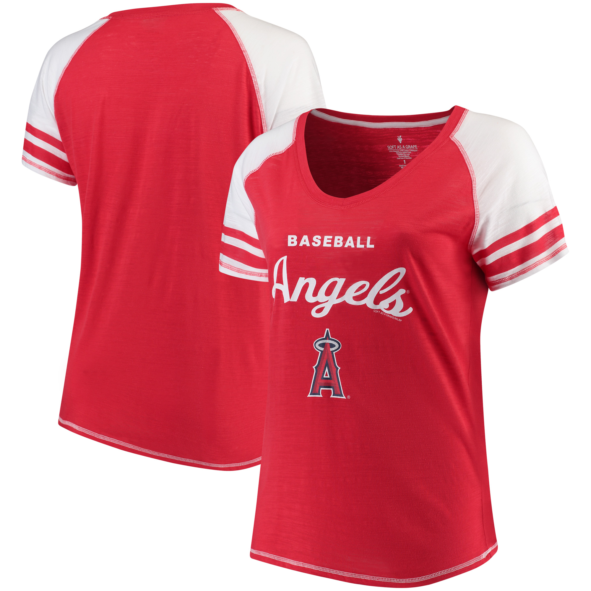 Los Angeles Angels Soft as a Grape Women's Plus Sizes Three Out Color Blocked Raglan Sleeve T-Shirt - Red