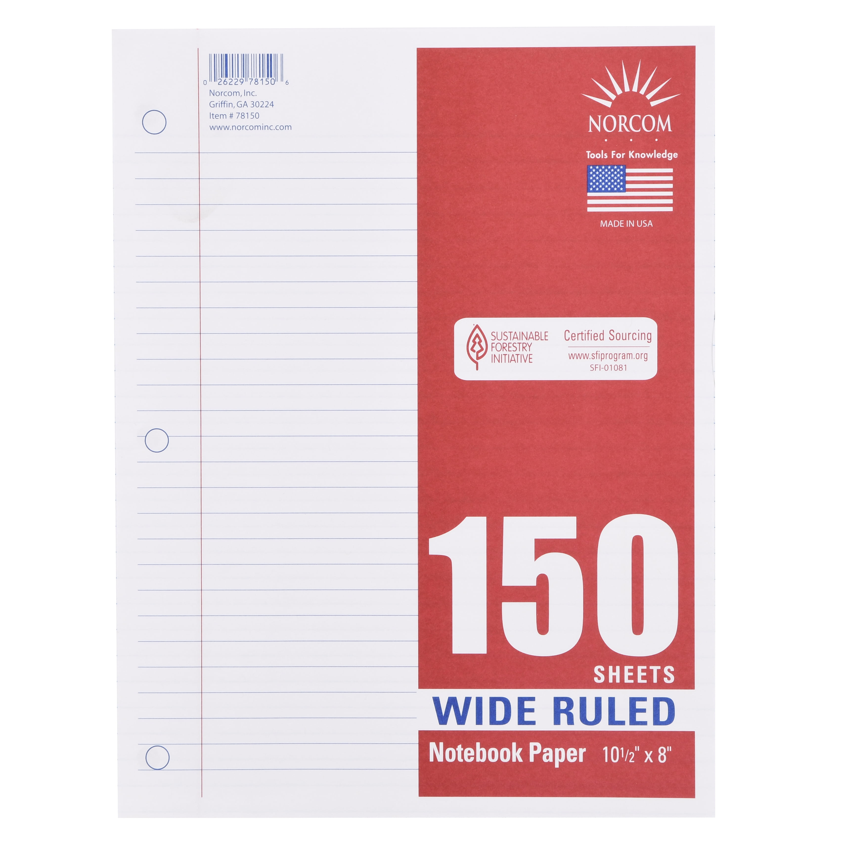 "Norcom Filler Paper, Wide Ruled, 150 Pages, 8"" X 10.5"