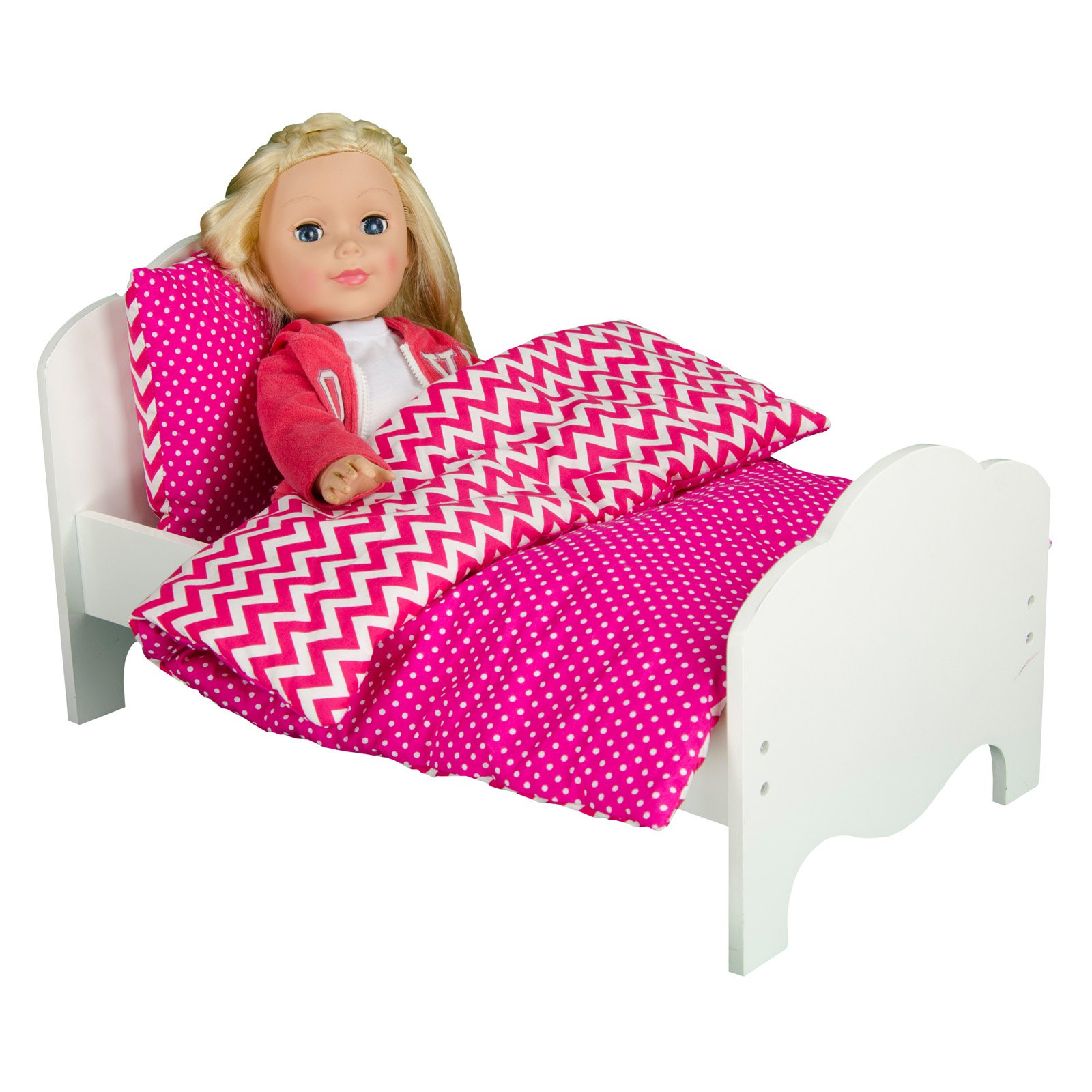 Olivia's Little World - Princess Bedding (Modern Chevron)  Wooden 18 inch Doll Furniture