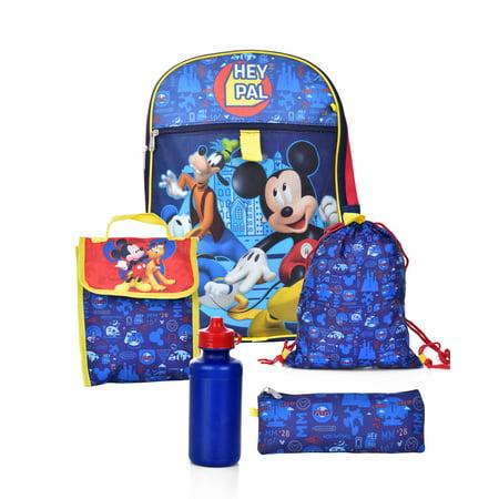 MICKEY MOUSE 5 PIECE BACKPACK SCHOOL SET (Best Deal On School Backpacks)