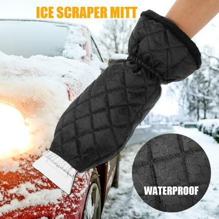 Waterproof Ice Scraper Mitt Glove Windshield Snow Scraper Snow Remover with Lined of Thick Fleece Keep Warm, Black
