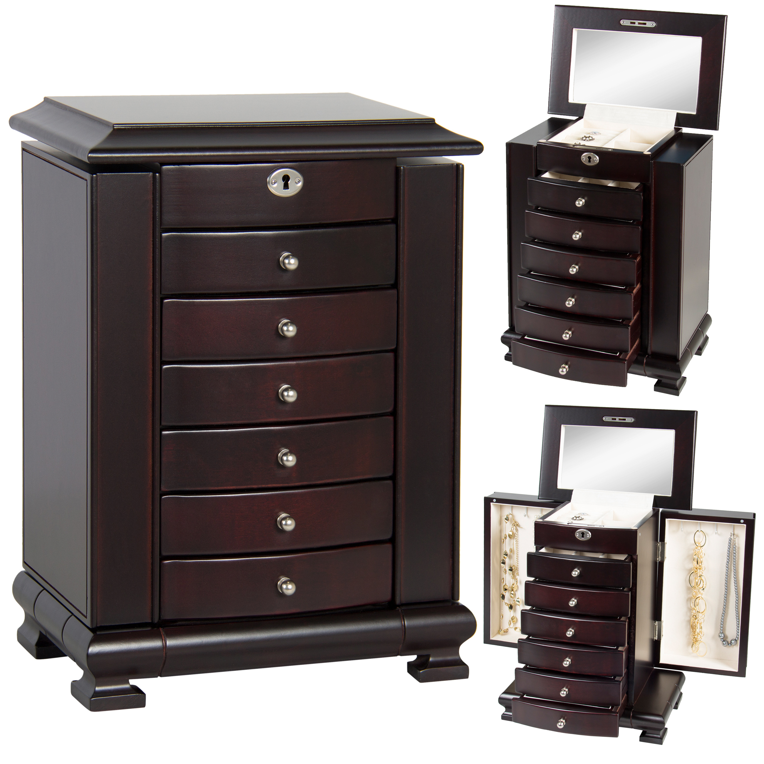 Best Choice Products Handcrafted Wooden Jewelry Box Organizer Wood Armoire Cabinet Storage Chest