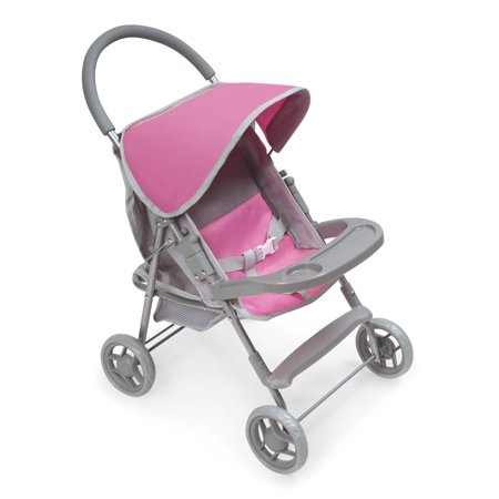 Badger Basket Glide Folding Single Doll Stroller - Gray/Pink - Fits American Girl, My Life As & Most 18