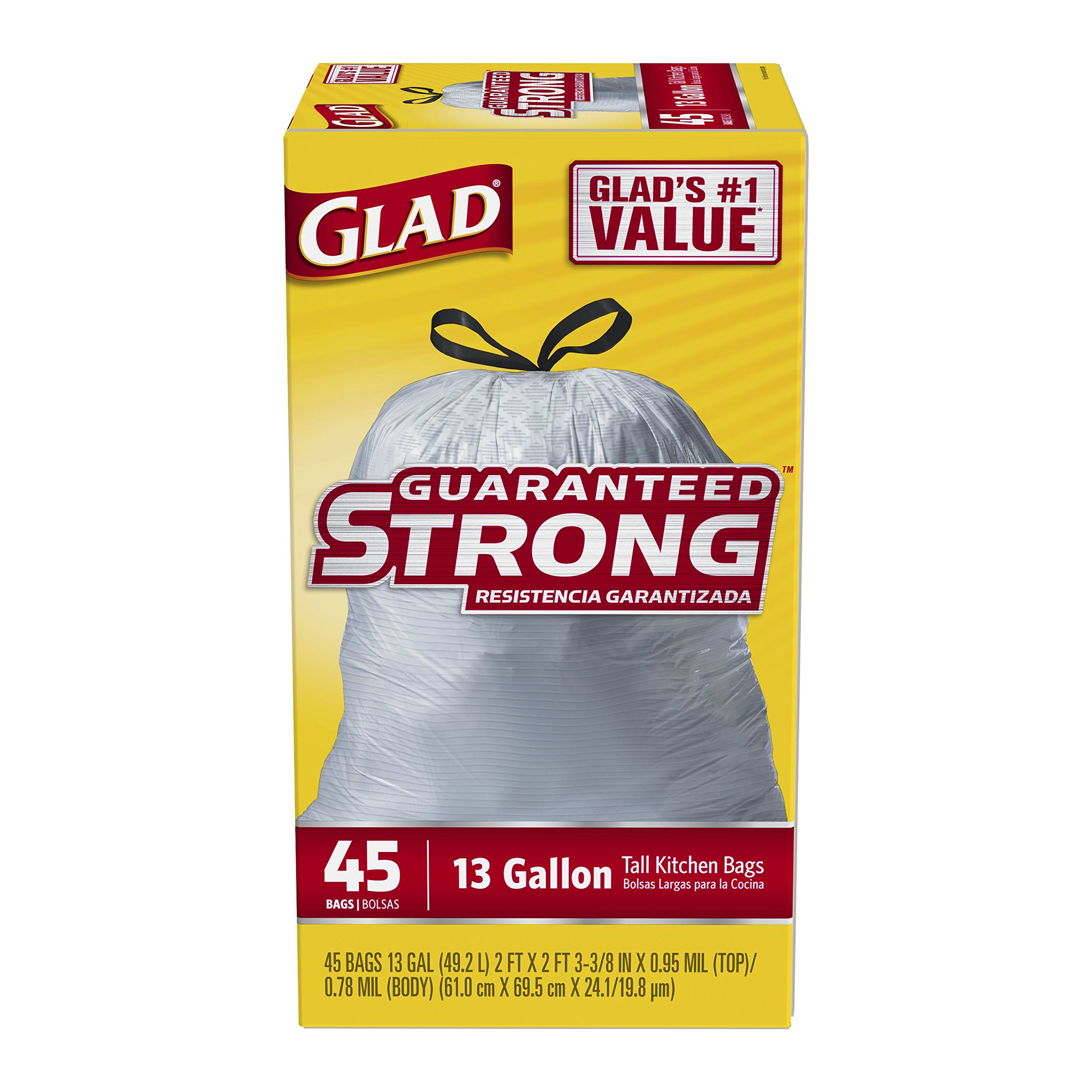"Glad Strong 13-gal Tall Kitchen Trash Bags - 13 Gal - 27"" X 24"" - 1 Mil [25 Micron] Thickness - White - 1each - Kitchen, Office, School, Breakroom, Restaurant (cox-78362)"