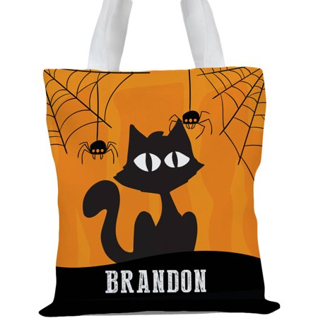 Personalized Kids Halloween Trick or Treat Cat Tote Bag, Sizes 11