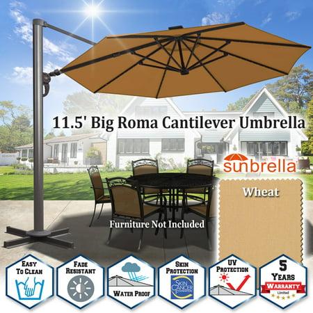 Sunrise 11.5' Outdoor Heavy Duty Deluxe Anti-Wind Cantilever Roma Umbrella, Solar Umbrella with UV50+ Tilt, Crank and 360 Degree Rotation Patio Sunshade Umbrella with Sunbrella Cover (Wheat) Tuscan Sun Garden