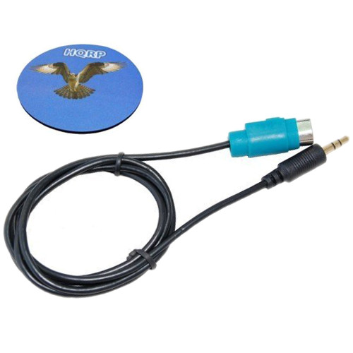 HQRP Mini Jack Full Speed Cable for Alpine CDA-9853 / CDA-9835 / CDA-9852 / CDA-9852E plus HQRP Coaster