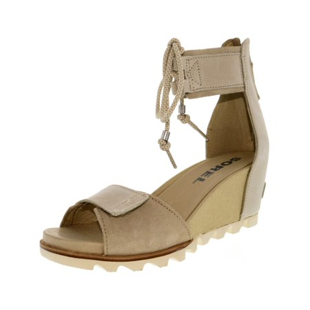 Women's Joanie Ankle Lace Oatmeal Leather Wedged Sandal - 7.5M