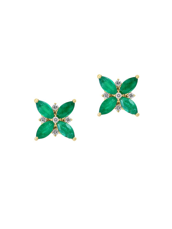Brasilica Diamond, Natural Emerald and 14K Yellow Gold Stud Earrings